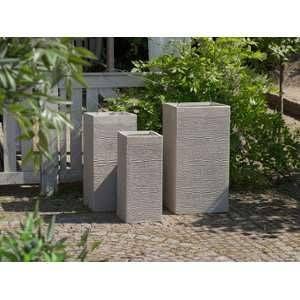 Beliani 3 cache-pots beiges rectangulaires Dion