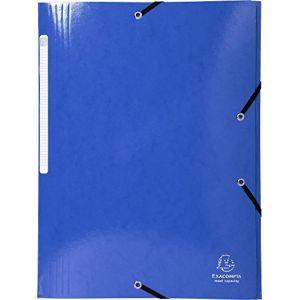 Exacompta 55832E - Chemise à élastique 3 rabats IDERAMA, pelliculée, grande capacité, coloris bleu foncé