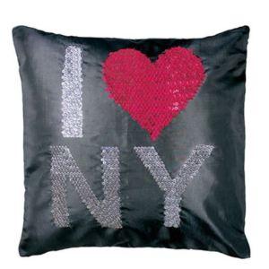 Housse de coussin sequins I Love NY