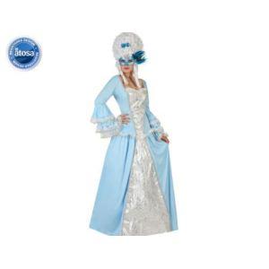 Atosa Déguisement princesse baroque bleue femme (taille au choix)