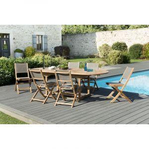 Macabane 1 table ovale extensible 180 / 240 x 100 cm - 3 lots de 2 chaises pliantes en textilène, couleur taupe
