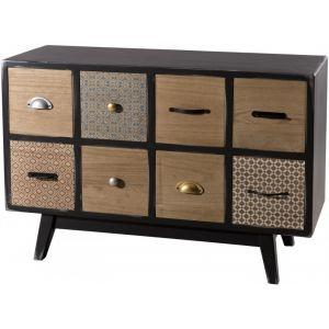 LesTendances Buffet design noir 8 tiroirs multicolores - Cooper