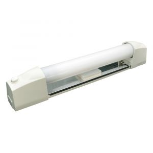 Tibelec 329330 Applique Salle de Bain Blanc avec Tube Fluo + Interrupteur/Diffuseur Plastique