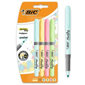 Image de Bic Highlighter Grip Pastel Surligneurs à Pointe Biseautée - Couleurs Assorties, Blister de 4