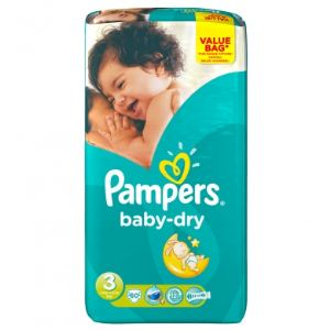 Pampers Baby-Dry taille 3 Midi (4-9 kg) - Value Bag x 60 couches