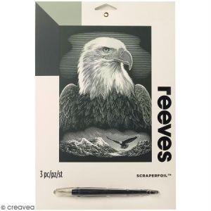 Reeves Carte à gratter Junior Argentée Aigle royal - 26 x 21 cm