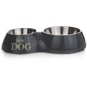 Beeztees Best Dog Gamelle Mélaminé pour Chien Gris 37 x 22 cm-350 ml/700 ml
