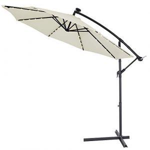 Deuba Kingsleeve | Parasol déporté en Aluminium • Ø3,3m • Crème • Mali • éclairage 32 LED • Lampe Solaire | Protection, manivelle, Jardin, terrasse, Balcon, Soleil
