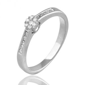 CaraShop 3663644008657 - Bague diamants entourage diamants en or blanc
