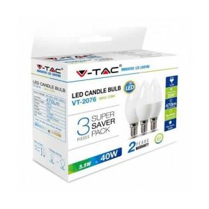 V-TAC KIT Super Saver Pack 3PCS/PACK Ampoule LED Bougie 5.5W E14 VT-2076 - SKU 7265 Blanc froid 6400K