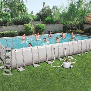 Bestway Ensemble de piscine Power Steel Rectangulaire 56623