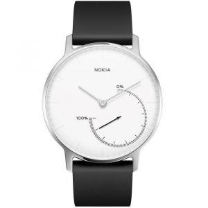 Nokia Steel blanc 36 mm boitier acier inoxydable - Montre connectée avec bracelet silicone noir