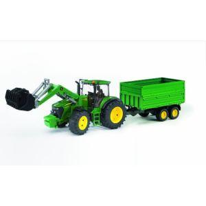 Bruder Toys 3055 - Tracteur John Deere 7930 avec fourche et remorque - Echelle 1:16