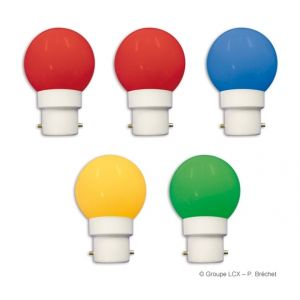 Leblanc Blister 5 ampoules led B22 couleurs