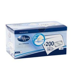La couronne 200 enveloppes Premium 11 x 22 cm avec fenêtre 3,5 x 10 cm