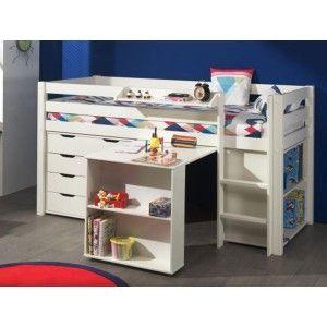 Vipack Furniture Lit Pino mezzanine, bureau, bibliothèque et commode 4 tiroirs pour enfant