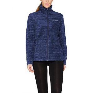 Columbia Polaire Zippé pour Femme, Fast Trek Printed Jacket, Polyester, Bleu Marine (Nocturnal Spacedye), Taille: XL, EL1012