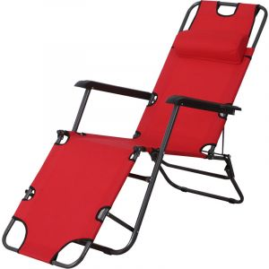 Outsunny Chaise longue transat 2 en 1 pliant inclinable multiposition rouge