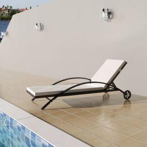 VidaXL Chaise longue rotin synthétique marron à roulettes