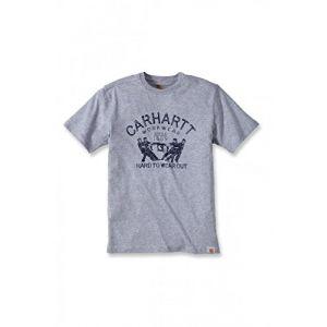 Carhartt Maddock Graphic T-shirt portant l%u2019inscription en anglais « Hard to Wear Out » - Taille XS - Gris chiné (Réf. 102097.034.s003)