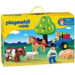 Playmobil 6620 - 1.2.3 : Enfants en charrette et animaux