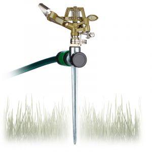 Relaxdays Arroseur circulaire aspergeur pelouse, jardin pulvérisateur, arrosage uniforme jusqu'à 700 m² 15 m 360°, vert -