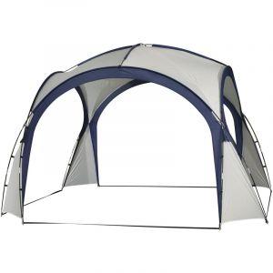 Outsunny Tonnelle barnum contemporain en dôme dim. 3,50L x 3,50l x 2,30H m fibre de verre polyester haute densité gris clair bleu