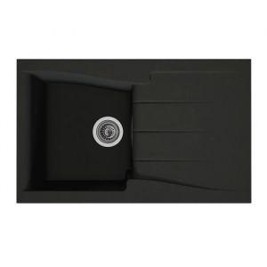 STRADOUR Evier cuisine à encastrer 1 bac + 1 uttoir Luna Composite MMC 81 x 50 cm Noir