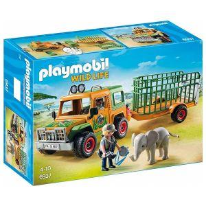 Playmobil 6937 Wild Life - Véhicule avec éléphanteau et soigneurs