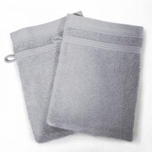 Lot de 2 gants de toilette 100% coton Vitamine 15x21 cm gris perle