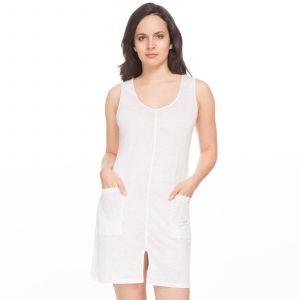 Blanc Cerise Robe en maille de lin unie Blanc