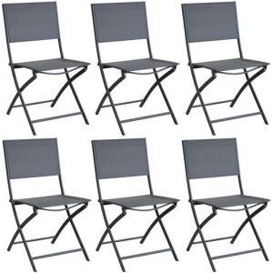 Proloisirs Chaise pliante en acier et toile Dream (Lot de 6) Gris