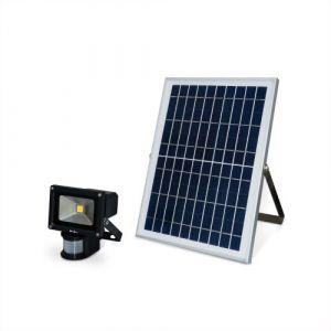 Alice's Garden Projecteur très puissant 10W LED solaire 900 lumens, blanc chaud à détecteur de mouvements, résistant à l'eau