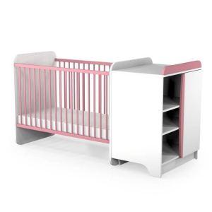 Ateliers T4 Lit bébé combiné évolutif 60 x 120 cm avec commode à langer