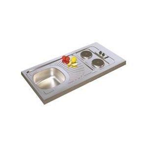 Moderna CPAE120A00 - Evier cuisinette à poser avec 2 plaques électriques intégrées en inox (5 x 60 x 120 cm)