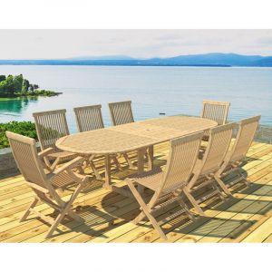 Swithome Ensemble table + 6 chaises + 2 fauteuils Brise d'été en teck brut