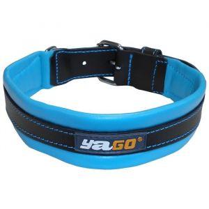 YAGO Collier en cuir - Taille L 43-52 cm - Noir et bleu - Pour grand chien