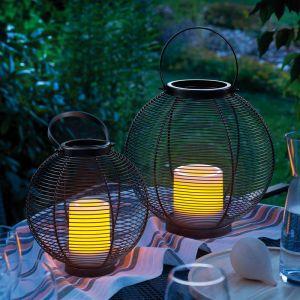Esotec Lampes décoratives solaires lot de 2 lampes de jardin lanterne lumière solaire extérieure 102215