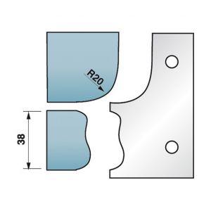 Diamwood Platinum Jeu de 2 fers profilés Ht. 90 x 5,5 mm corniche N°5 M590.323 pour porte-outils de toupie