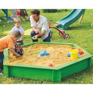 Jardipolys Bac à sable Woody en bois hexagonal avec couvercle