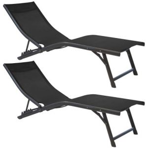Proloisirs Bains de soleil relax en aluminium Fuji (Lot de 2) Gris et noir