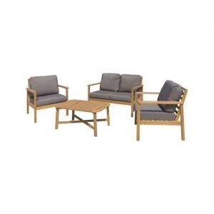 Salon de jardin 4 places - 1 table avec 2 fauteuils et 1 banquette - En bois d'acacia - Salon de jardin en bois d'acacia - Fauteuil : 79,5x87,5x85cm - Table : 100x45x60cm - Banquette : 131,5x85x85cm - Marron.