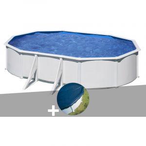 Gre Kit piscine acier blanc Wet ovale 6,34 x 3,99 x 1,22 m + Bâche hiver