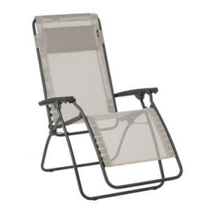Lafuma Chaise longue relax pliante multiposition en acier et toile Batyline R CLIP Seigle