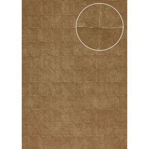 Atlas Papier peint aspect pierre carrelage INS-0805-2 papier peint texturé gaufré avec des figures géométriques et un effet métallique bronze brun-pâle brun olive 7,035 m2