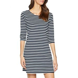 Only NOS Onlbrilliant 3/4 Dress JRS Noos Robe, Bleu (Sky Captain Stripes: Cloud Dancer), 38 (Taille Fabricant: Small) Femme