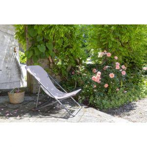 Lafuma Mobilier Maxi Transat Bain de Soleil avec Cannage Phifertex, Titane/Magnolia 2020 Siège Camping