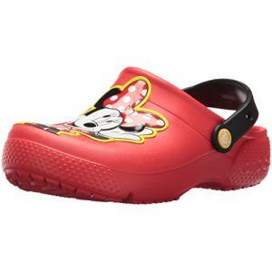 Crocs Fun Lab Minnie Clog Kids, Sabots Fille, Rouge (Flame) 32/33 EU