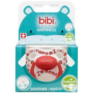 Bibi Happiness Natural I love mama / papa is the best sucette 16+