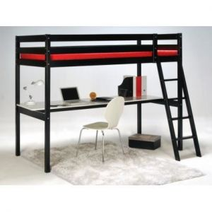 Weber Industries ASHTON Lit mezzanine enfant contemporain en bois épicéa massif verni noir + sommier - l 90 x L 190 cm
